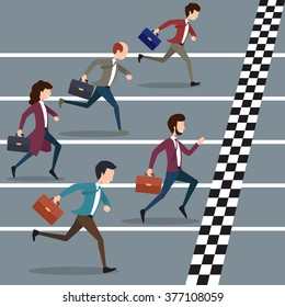 Business people winning marathon. Success competition, run to the goal. Vector illustration