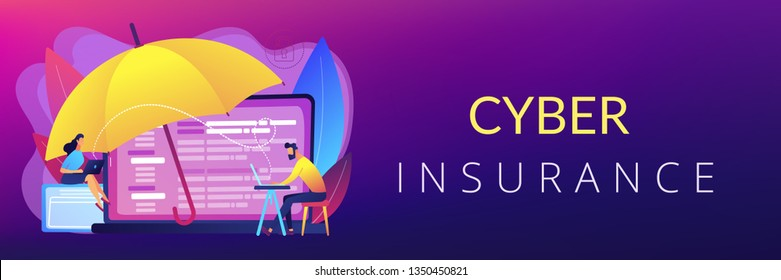 Business people work with laptops protected from internet-based risks. Cyber insurance, cyber-insurance market, cybercrime risk protection concept. Header or footer banner template with copy space.