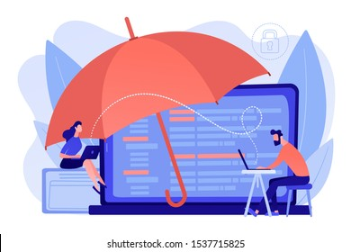 Business people work with laptops protected from internet-based risks. Cyber insurance, cyber-insurance market, cybercrime risk protection concept. Pinkish coral bluevector isolated illustration