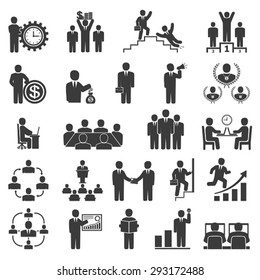 Business people in work. Office icons, conference, computer work,  team working, motivation to success