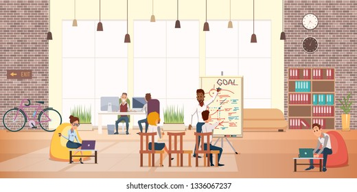 Business People Work Rest in Modern Office Area. Creative Group. Coworking Center Interior with Window. Furniture, Modern Device. Flip Board Presentation. Flat Cartoon Vector Illustration