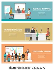 Business people working banner set, teamwork, management, finance, training and seminar