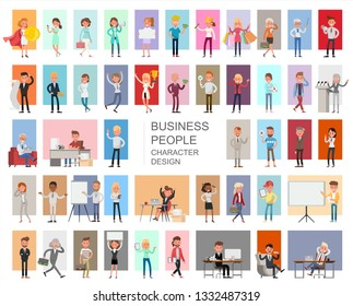Business people working character vector design. Presentation in various action with emotions, running, standing and walking.
