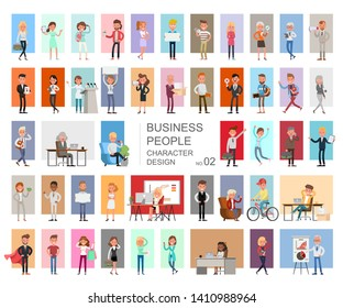 Business people working character vector design. Presentation in various action with emotions, running, standing and walking. no2