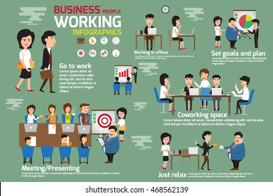 Business people working and coworking space infographics elements. Story business man and woman working in office with many activities. presenting, set goal and planing for success. vector.