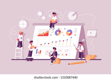 Business people working at finance productivity graph. Commerce solutions for investments concept. Analysis of sales statistic grow data accounting infographic. Economic deposits