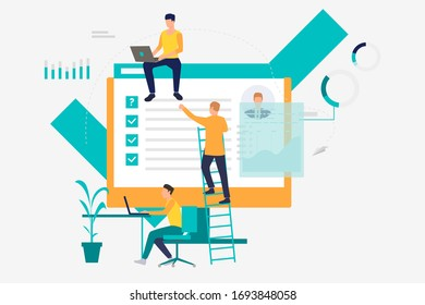 Business people working with information on computers. Chart, data, management concept. Vector illustration can be used for topics like business, technology, analysis