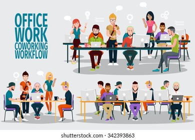 Business People Working Office Corporate Team Concept. Shared working environment. People talking and working at the computers in the open space office. Flat design style.