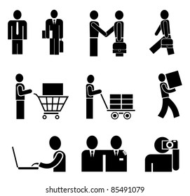 Business people working in an office - set of isolated vector icons on white.