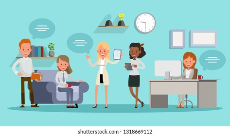 business people working in office vector character design