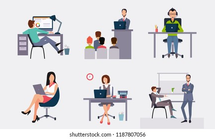 Business people working in the office, office workers working at the computers, taking part in the conference vector Illustration on a white background