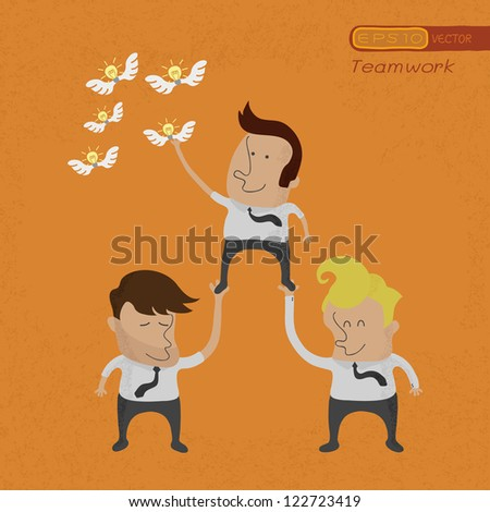 Business People Working Team Grab Idea Stock Vector (Royalty