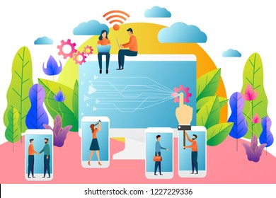 business people working teamwork with success vector illustration.