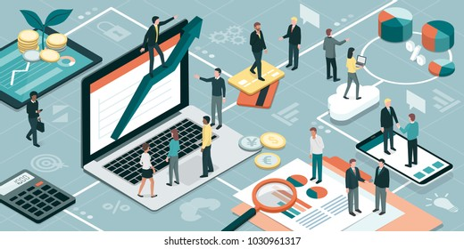 Business people working together and developing a successful business strategy: marketing and finance concept