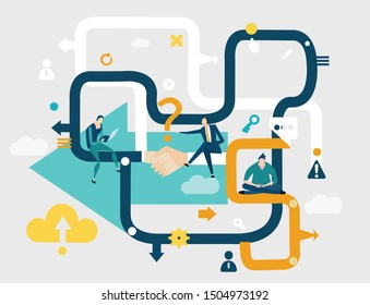 Business people working together, finding solution, developing business. Shake hands, agreement. Business concept illustration