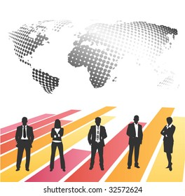 Business people with world map