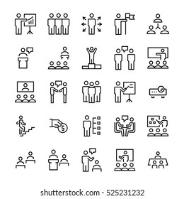 Business people,presentation,training icon set in thin line style. Vector symbols.