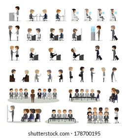 Business Peoples In Different Actions And Situations Set - Isolated On Gray Background - Vector Illustration, Graphic Design Editable For Your Design. Team Working In Group