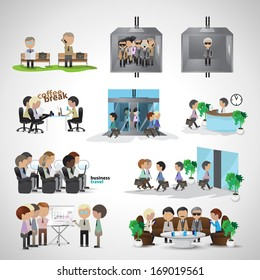 Business Peoples - Isolated On Gray Background - Vector Illustration, Graphic Design Editable For Your Design. Team Working In Office. Business Concept