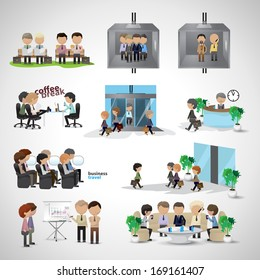 Business Peoples - Isolated On Gray Background - Vector Illustration, Graphic Design Editable For Your Design. Team Working In Office. Coffee Break Pause. Business Concept