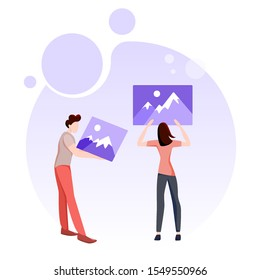 Business pepople set. Man and woman holding images. Teamwork concept. Idea of business people working together. Office person, professional worker. Isolated flat vector illustration