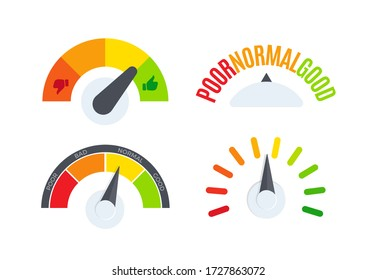 Business performance company review scale logo set. Speedometer, barometer, fuel gauge display logotype collection. Colorful dial indicator vector illustration.
