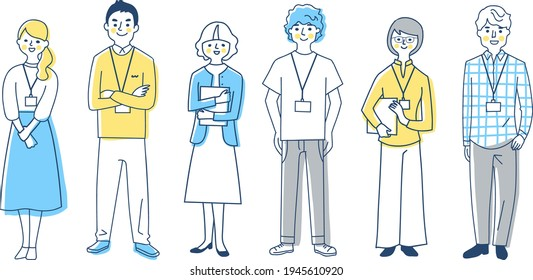 Business person 6 men and women whole body set