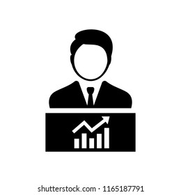 Business person with chart graph flat icon
