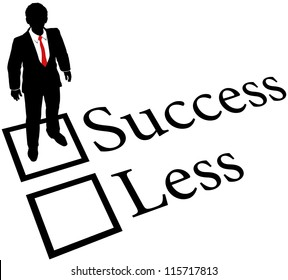 Business person check success box nothing less on evaluation form