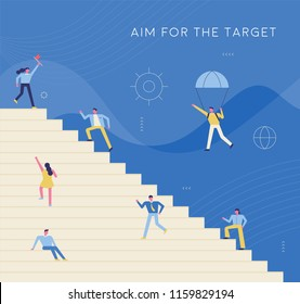Business person climbing stairs toward goal. flat design style vector graphic illustration set