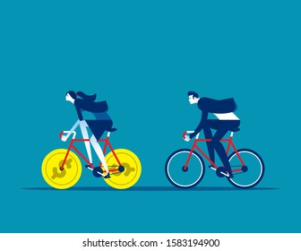 Business person driven by investment money. Concept business financial vector illustration, Poverty and Currency