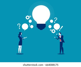 Business person exchanging question and idea. Concept business vector illustration.