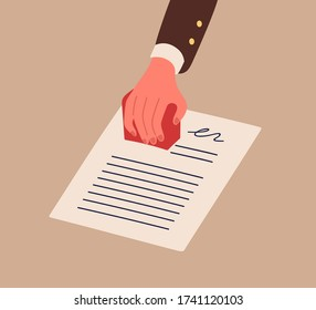 Business person hand in suit holding stamp vector flat illustration. Human arm stamping document with signature isolated. Notarial stamper on agreement, deal or contract to approve