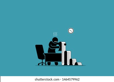 Business person holding a long paper with to do list in the office. Vector artwork concept depicts stress, overwhelmed with work, busy, tasks, and chores.