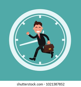 business person running, clock in background