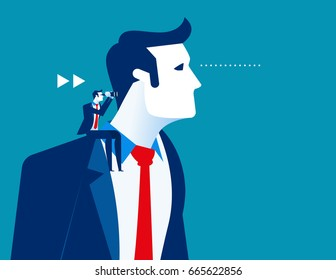 Business person sitting on the shoulder of giant. Concept business vector illustration.