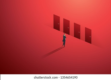 Business person standing thinking at door four of choice on wall red path to goal success. illustration Vector