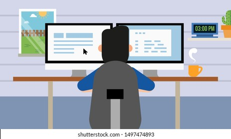 Business person working on computer. Businessman sitting on a gray chair behind the office Desk with a cactus, wall clock. Cool vector flat illustration character design. back view.