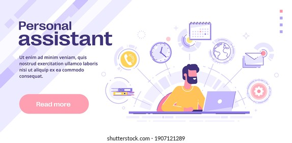 Business personal assistant online service or app. Remote worker helping with different tasks and paperwork. Vector illustration.