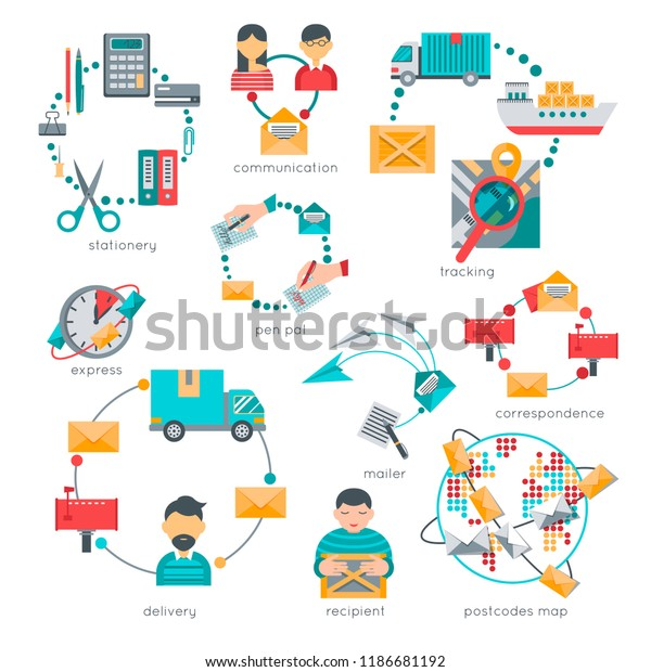 Business Personal Correspondence Pen Pals Hand Stock Vector (Royalty