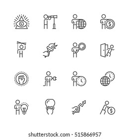 Business and personal development concepts vector icon set