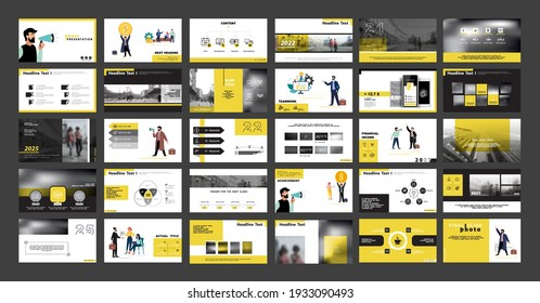 Business photo presentation, powerpoint, infographic design template, yellow, black elements, background set. New technology. Team of people creates a business, teamwork. Financial work. Use of flyers