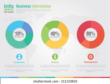 Business pie chart infographic. Business report creative marketing. Business success.