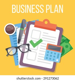 Business plan flat illustration. Flat design concepts for web banners, web sites, printed materials. Creative vector illustration