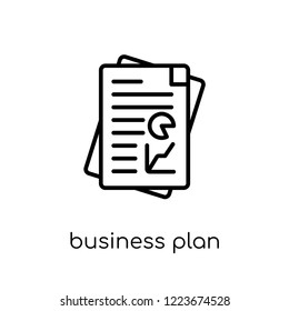 Business plan icon. Trendy modern flat linear vector Business plan icon on white background from thin line Business and analytics collection, editable outline stroke vector illustration