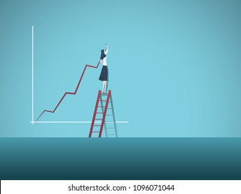 Business plan or investment vector concept. Businesswoman drawing increasing graph. Symbol of successful investment, profit, finance, growth, strategy. Eps10 vector illustration.
