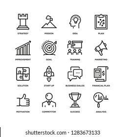 BUSINESS PLAN LINE ICON SET