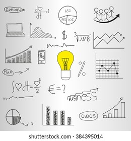 Business plan and mobile technologies, conceptual doodle drawing design elements set. Abstract illustration. Well organized composition.