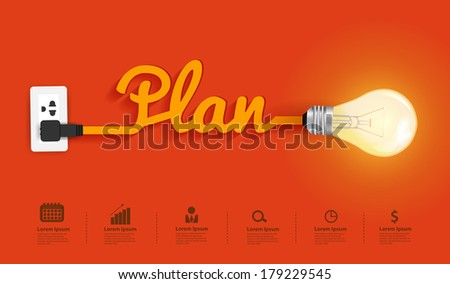 Business plan modern design template, Creative light bulb idea abstract infographic  layout, diagram, step up options, Vector illustration