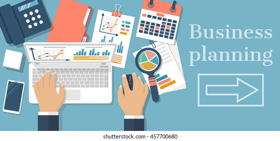 Business planning concept. Businessman at table with laptop, charts, graphs, analyzing project, strategy,  research, development, financial management, marketing research, statistic, solution. Vector